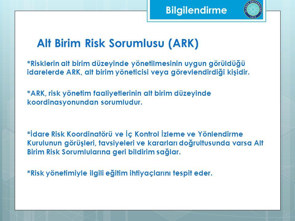 Alt Birim Risk Sorumlusu (ARK) *Risklerin alt birim düzeyinde yönetilmesinin uygun görüldüğü idarelerde ARK, alt birim yöneticisi veya görevlendirdiği kişidir.