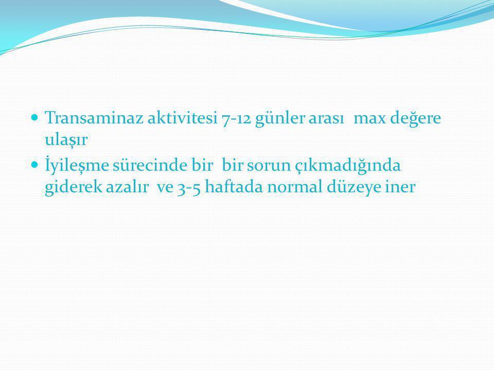 Transaminaz aktivitesi 7-12 günler arası max değere ulaşır İyileşme sürecinde bir bir sorun çıkmadığında giderek azalır ve 3-5 haftada normal düzeye i