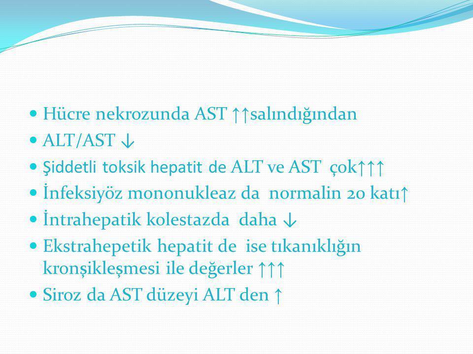 Hücre nekrozunda AST ↑↑ salındığından ALT/AST ↓ Şiddetli toksik hepatit de ALT ve AST çok ↑↑↑ İnfeksiyöz mononukleaz da normalin 20 katı ↑ İntrahepati