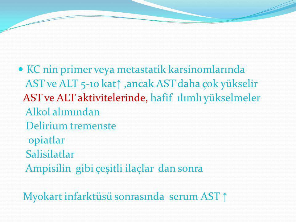 KC nin primer veya metastatik karsinomlarında AST ve ALT 5-10 kat ↑,ancak AST daha çok yükselir AST ve ALT aktivitelerinde, hafif ılımlı yükselmeler A