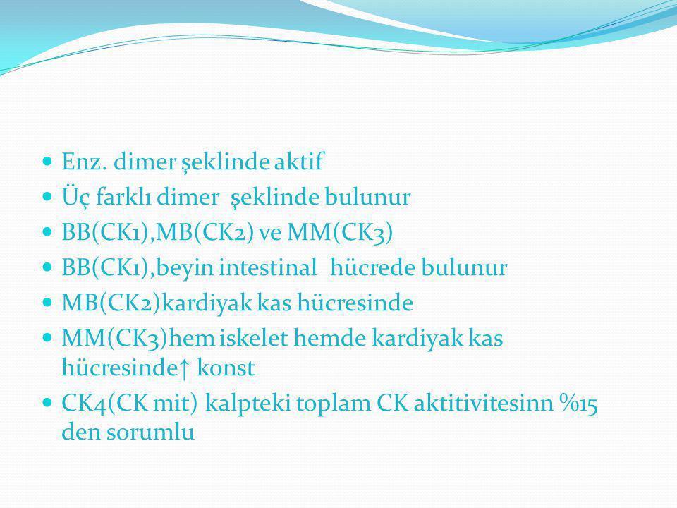 Enz. dimer şeklinde aktif Üç farklı dimer şeklinde bulunur BB(CK1),MB(CK2) ve MM(CK3) BB(CK1),beyin intestinal hücrede bulunur MB(CK2)kardiyak kas hüc
