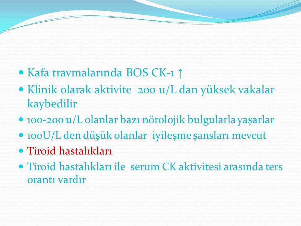 Kafa travmalarında BOS CK-1 ↑ Klinik olarak aktivite 200 u/L dan yüksek vakalar kaybedilir 100-200 u/L olanlar bazı nörolojik bulgularla yaşarlar 100U