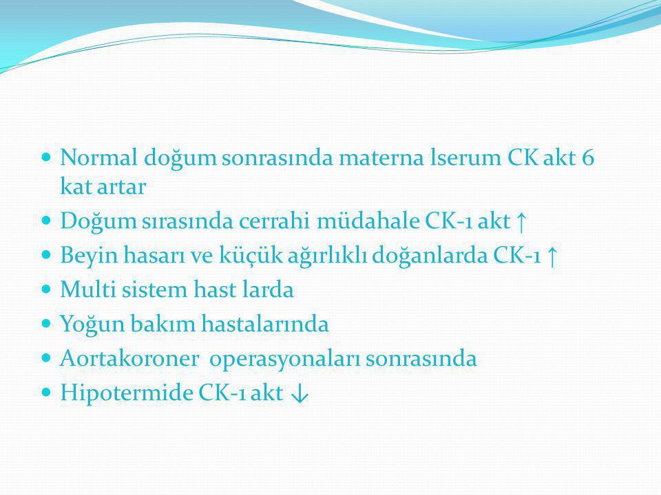 Normal doğum sonrasında materna lserum CK akt 6 kat artar Doğum sırasında cerrahi müdahale CK-1 akt ↑ Beyin hasarı ve küçük ağırlıklı doğanlarda CK-1
