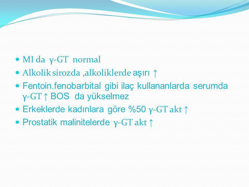 MI da γ-GT normal Alkolik sirozda,alkoliklerde aşırı ↑ Fentoin.fenobarbital gibi ilaç kullananlarda serumda γ-GT ↑ BOS da yükselmez Erkeklerde kadınla