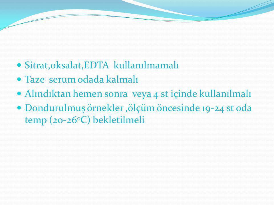Sitrat,oksalat,EDTA kullanılmamalı Taze serum odada kalmalı Alındıktan hemen sonra veya 4 st içinde kullanılmalı Dondurulmuş örnekler,ölçüm öncesinde