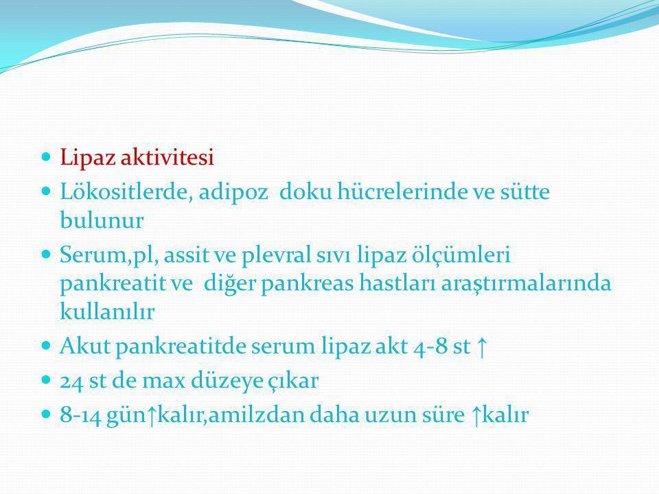 Lipaz aktivitesi Lökositlerde, adipoz doku hücrelerinde ve sütte bulunur Serum,pl, assit ve plevral sıvı lipaz ölçümleri pankreatit ve diğer pankreas