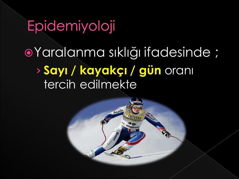  Yaralanma sıklığı ifadesinde ; › Sayı / kayakçı / gün oranı tercih edilmekte