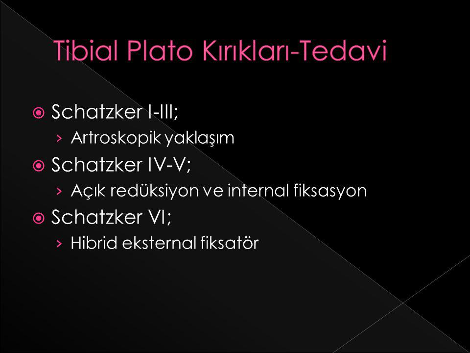  Schatzker I-III; › Artroskopik yaklaşım  Schatzker IV-V; › Açık redüksiyon ve internal fiksasyon  Schatzker VI; › Hibrid eksternal fiksatör