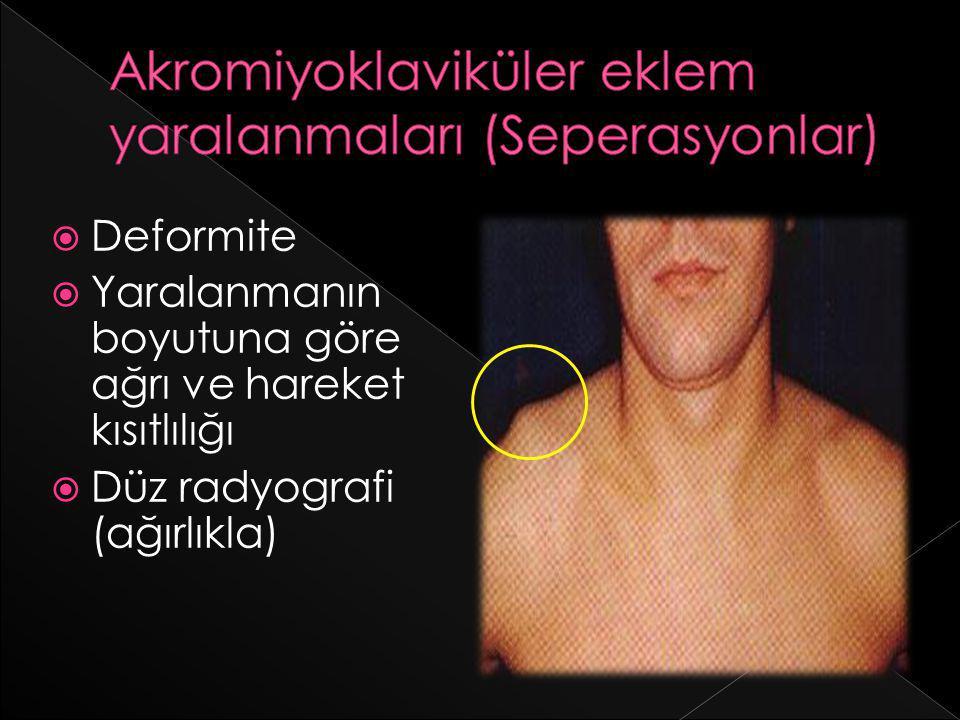  Deformite  Yaralanmanın boyutuna göre ağrı ve hareket kısıtlılığı  Düz radyografi (ağırlıkla)