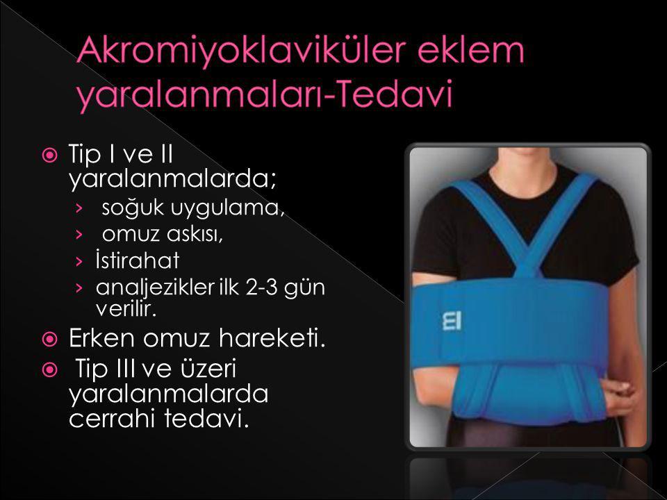  Tip I ve II yaralanmalarda; › soğuk uygulama, › omuz askısı, › İstirahat › analjezikler ilk 2-3 gün verilir.  Erken omuz hareketi.  Tip III ve üze