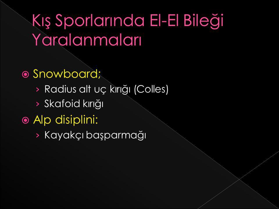  Snowboard; › Radius alt uç kırığı (Colles) › Skafoid kırığı  Alp disiplini: › Kayakçı başparmağı