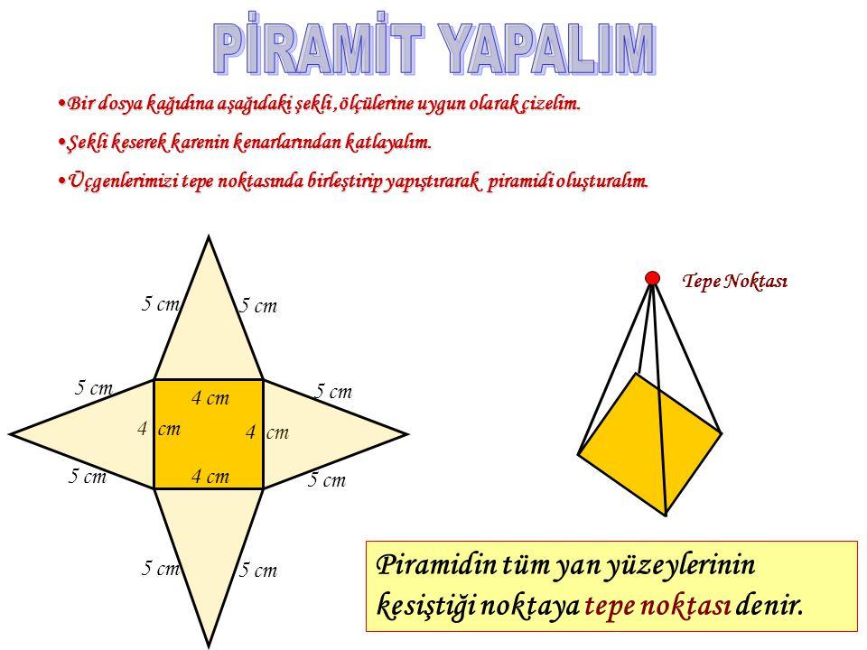 Benzer ve farklı yönlerini dikkate alarak, bir cismin piramit olabilmesi için hangi özelliklere sahip olması gerekti ğ ini söyleyelim. TTTTabanlar