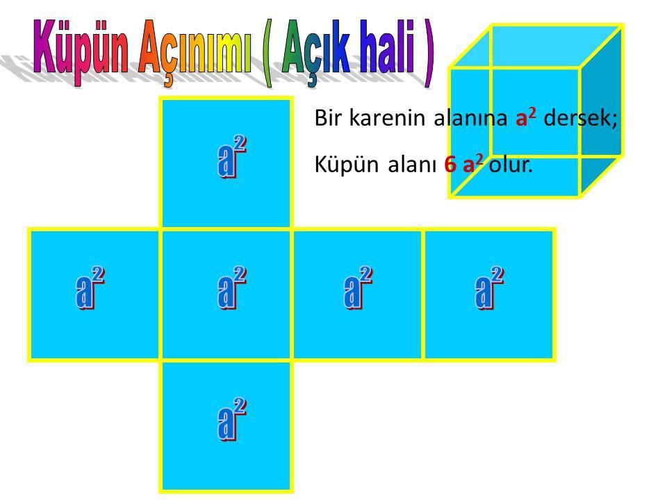 Küpün temel özelliği bütün yüzeylerinin birbirine eş karesel bölgelerden oluşmasıdır. Küpün; 6 yüzü, 12 ayrıtı (kenarı), 8 köşesi vardır. KKüpün kaç