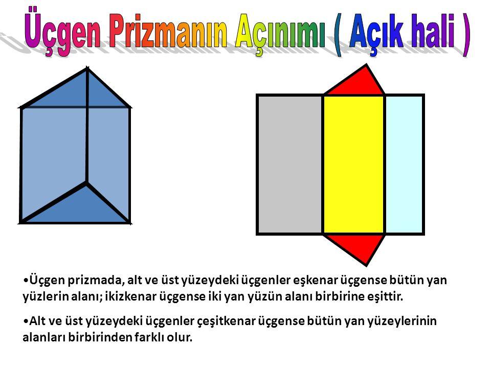 Üçgen Prizmanın temel özelliği alt ve üst yüzeylerinin birbirine eş üçgenlerden; Yan yüzeylerinin ise dikdörtgenlerden oluşmasıdır. Üçgen Prizmanın; 5