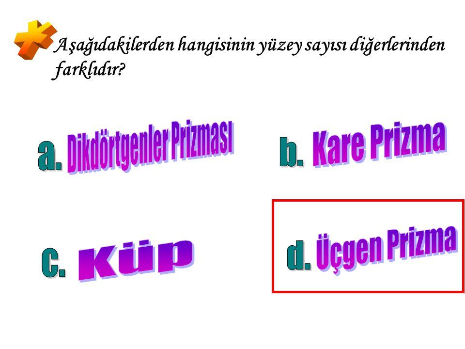 Aşağıdaki şekillerden hangisi dikdörtgenler prizmasının açınımıdır?