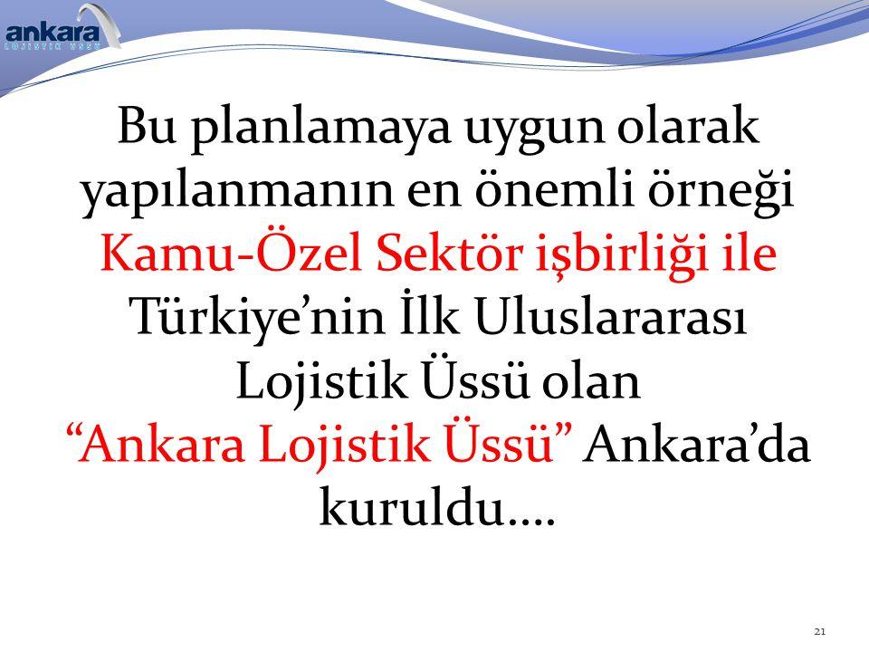 """Bu planlamaya uygun olarak yapılanmanın en önemli örneği Kamu-Özel Sektör işbirliği ile Türkiye'nin İlk Uluslararası Lojistik Üssü olan """"Ankara Lojist"""