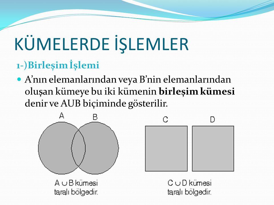 KÜMELERDE İŞLEMLER 1-)Birleşim İşlemi A'nın elemanlarından veya B'nin elemanlarından oluşan kümeye bu iki kümenin birleşim kümesi denir ve AUB biçimin