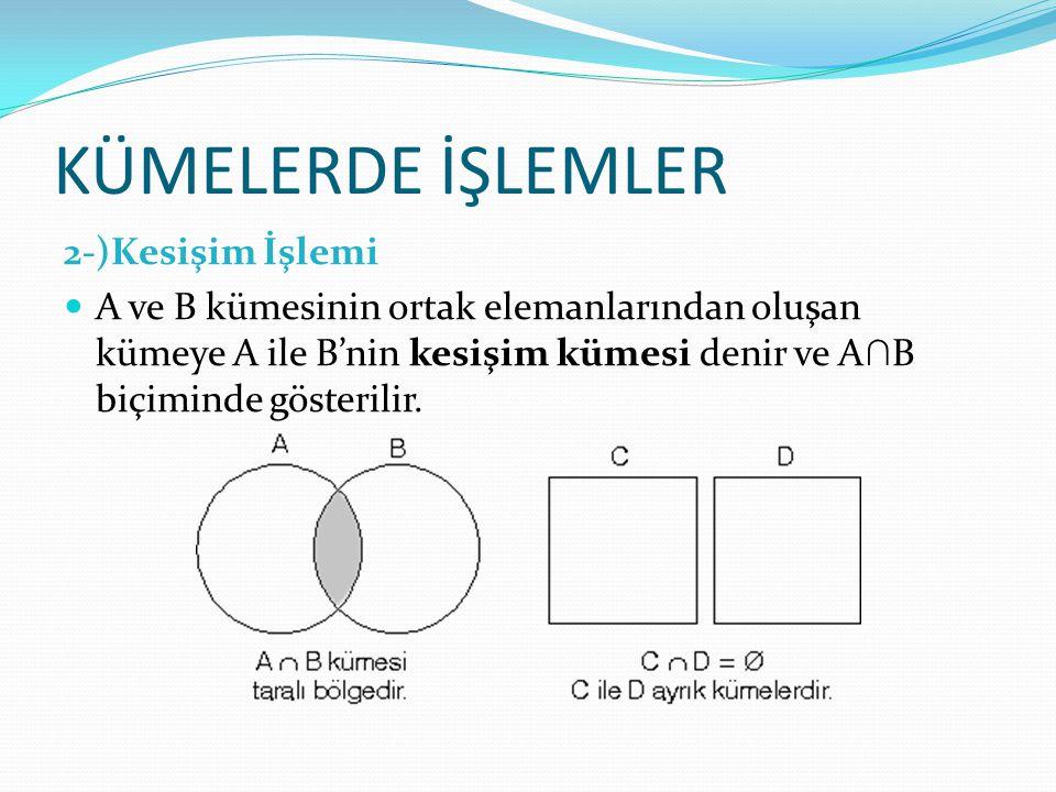 KÜMELERDE İŞLEMLER 2-)Kesişim İşlemi A ve B kümesinin ortak elemanlarından oluşan kümeye A ile B'nin kesişim kümesi denir ve A ∩ B biçiminde gösterili