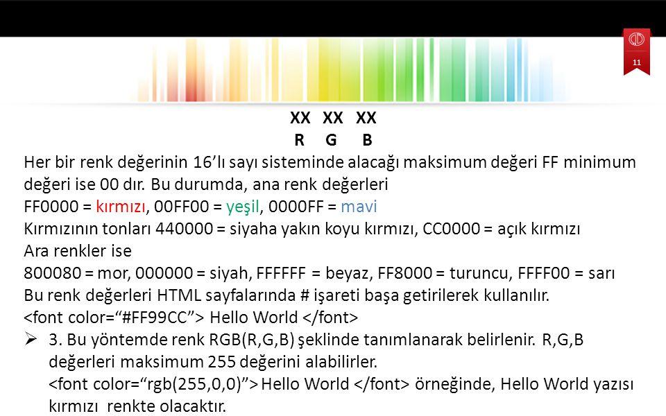 XX XX XX R G B Her bir renk değerinin 16'lı sayı sisteminde alacağı maksimum değeri FF minimum değeri ise 00 dır. Bu durumda, ana renk değerleri FF000