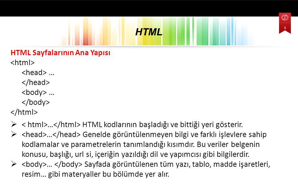 HTML Sayfalarının Ana Yapısı … …  … HTML kodlarının başladığı ve bittiği yeri gösterir.  … Genelde görüntülenmeyen bilgi ve farklı işlevlere sahip k