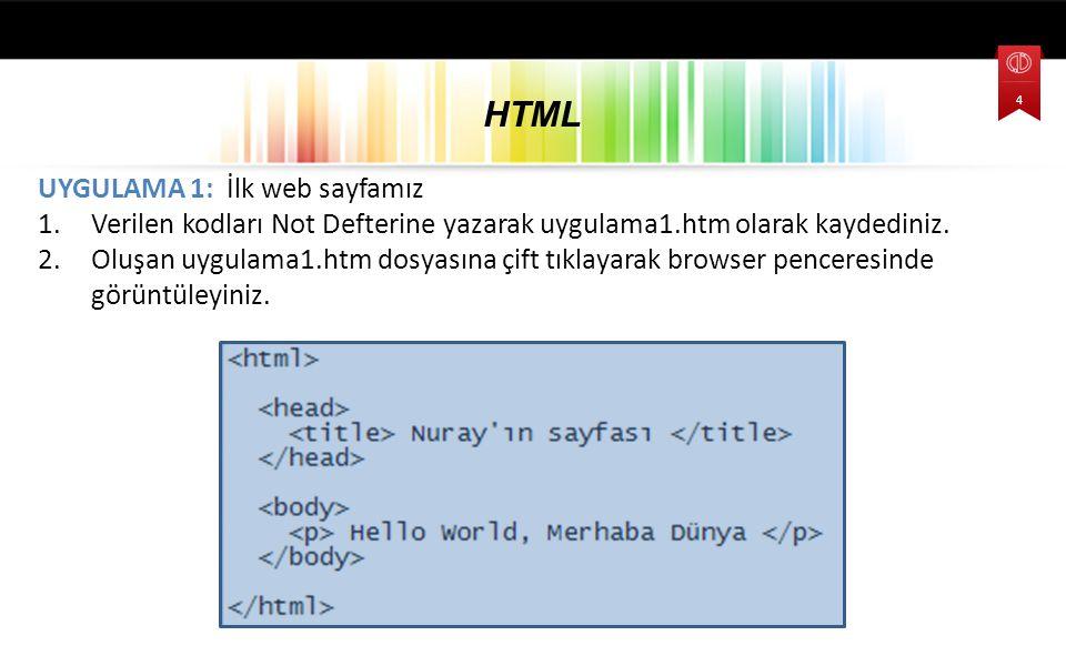 UYGULAMA 1: İlk web sayfamız 1.Verilen kodları Not Defterine yazarak uygulama1.htm olarak kaydediniz. 2.Oluşan uygulama1.htm dosyasına çift tıklayarak
