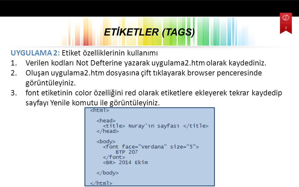 Özel Karakterler HTML yapısı içerisinde özel karakterler ve birden fazla boşluk için kullanılan kodlamalar: &nbsp Boşluk karakteri &copy © karakteri &lt < karakteri &gt > karakteri &amp & karakteri &quot karakteri Ayrıca enter tuşu ile kodları ve içeriği alt satırlara indirmenin HTML açısından bir etkisi olmaz.