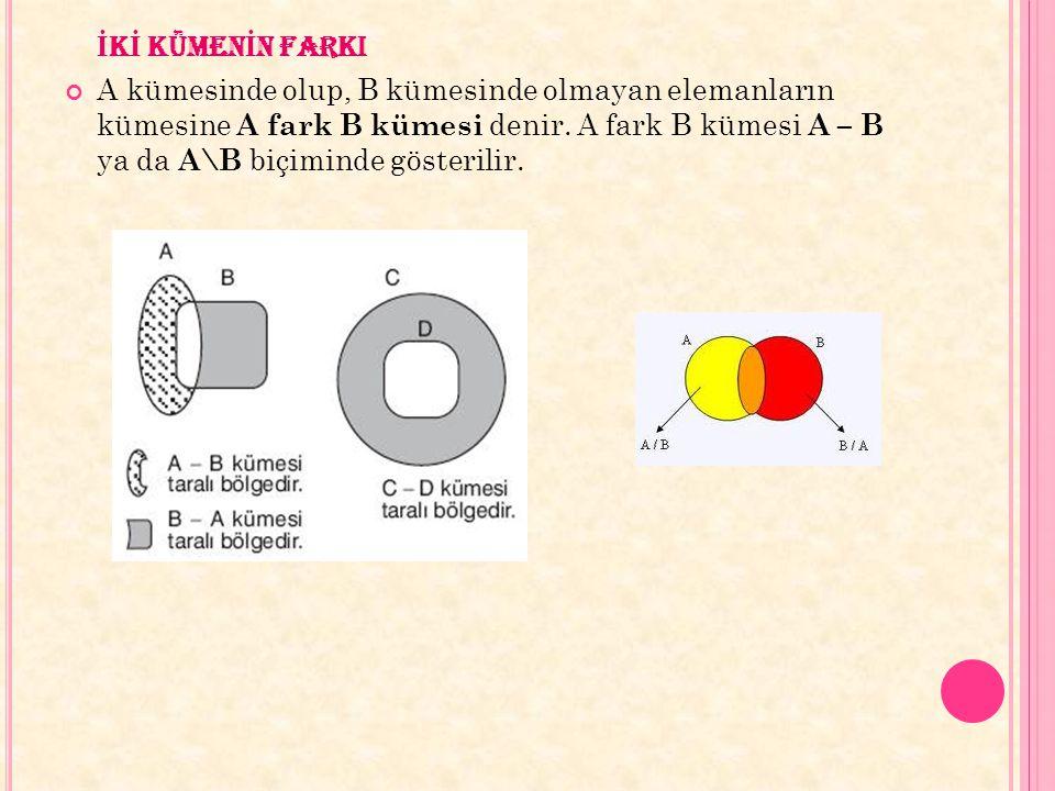 İ K İ KÜMEN İ N FARKI A kümesinde olup, B kümesinde olmayan elemanların kümesine A fark B kümesi denir. A fark B kümesi A – B ya da A\B biçiminde göst