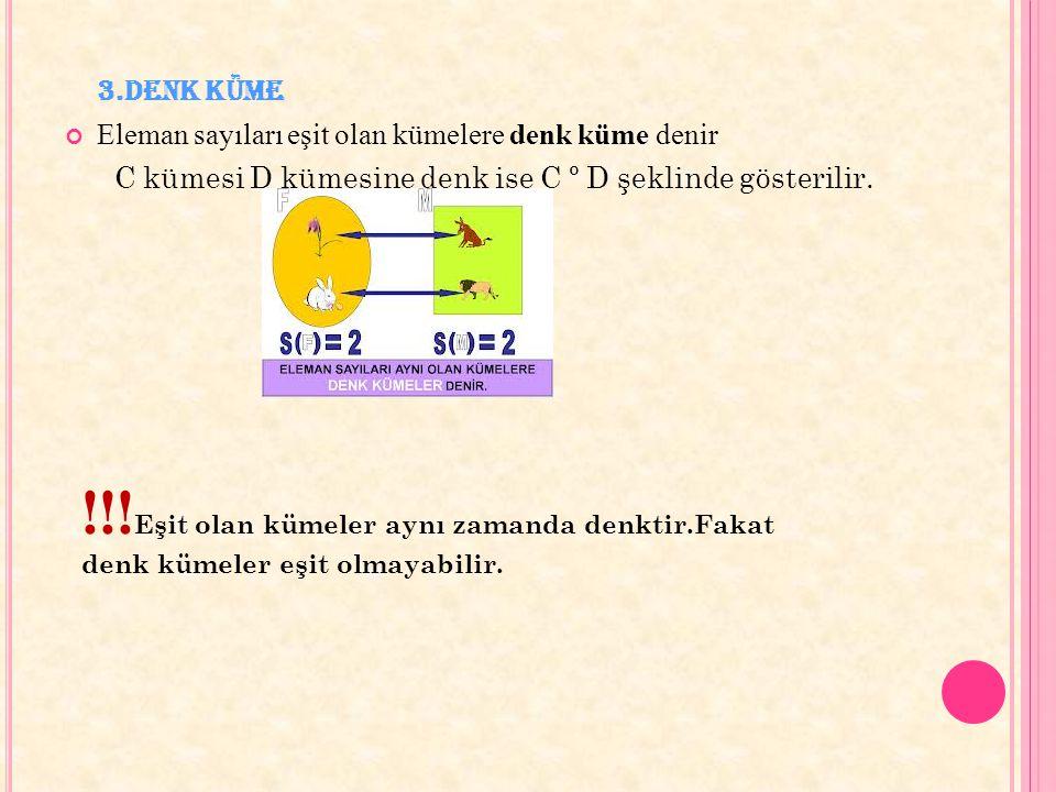 3.Denk Küme Eleman sayıları eşit olan kümelere denk küme denir C kümesi D kümesine denk ise C º D şeklinde gösterilir. !!! Eşit olan kümeler aynı zama