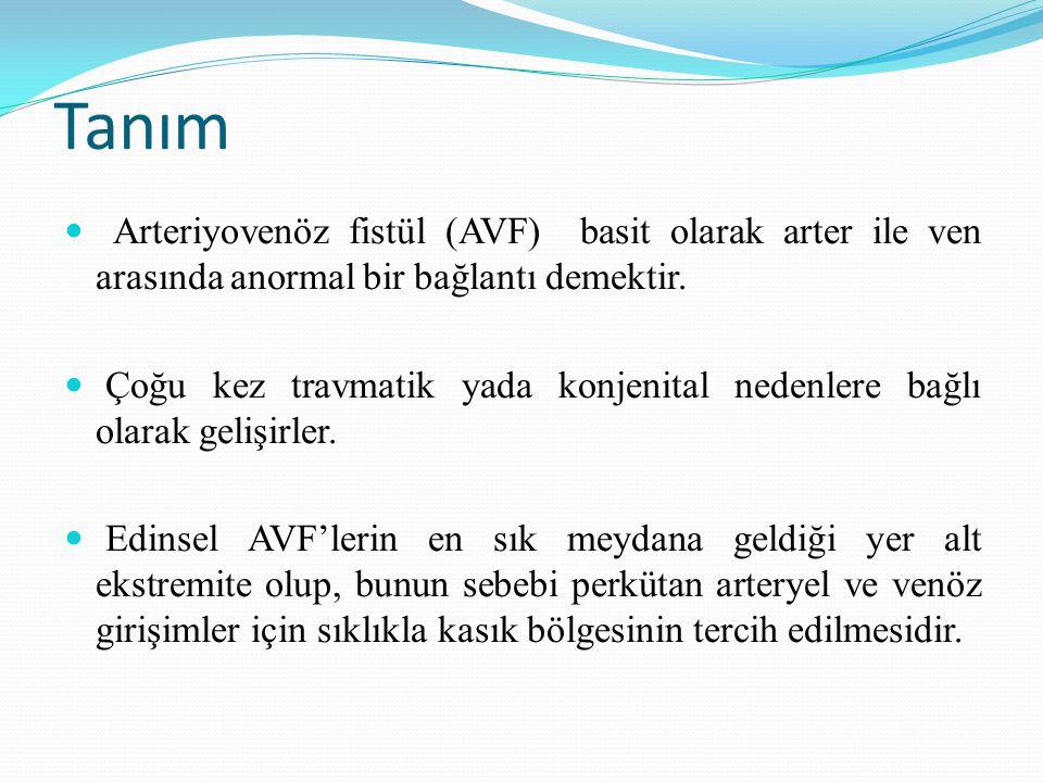Tanım Arteriyovenöz fistül (AVF) basit olarak arter ile ven arasında anormal bir bağlantı demektir. Çoğu kez travmatik yada konjenital nedenlere bağlı