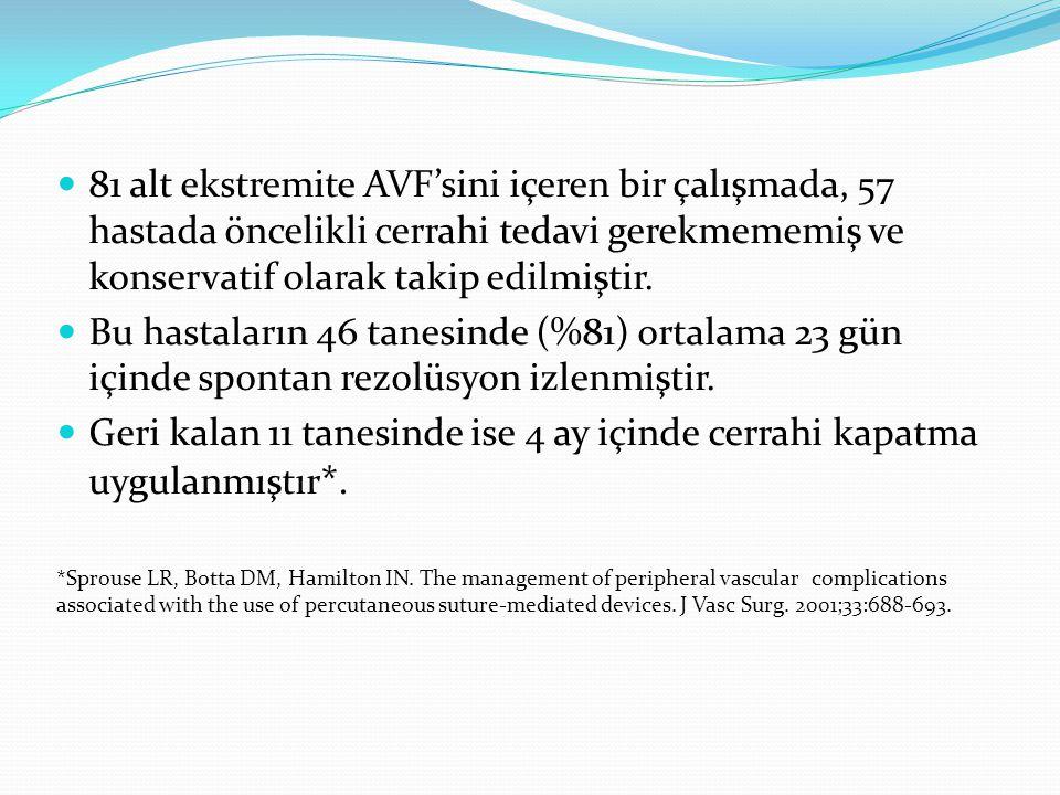 81 alt ekstremite AVF'sini içeren bir çalışmada, 57 hastada öncelikli cerrahi tedavi gerekmememiş ve konservatif olarak takip edilmiştir. Bu hastaları