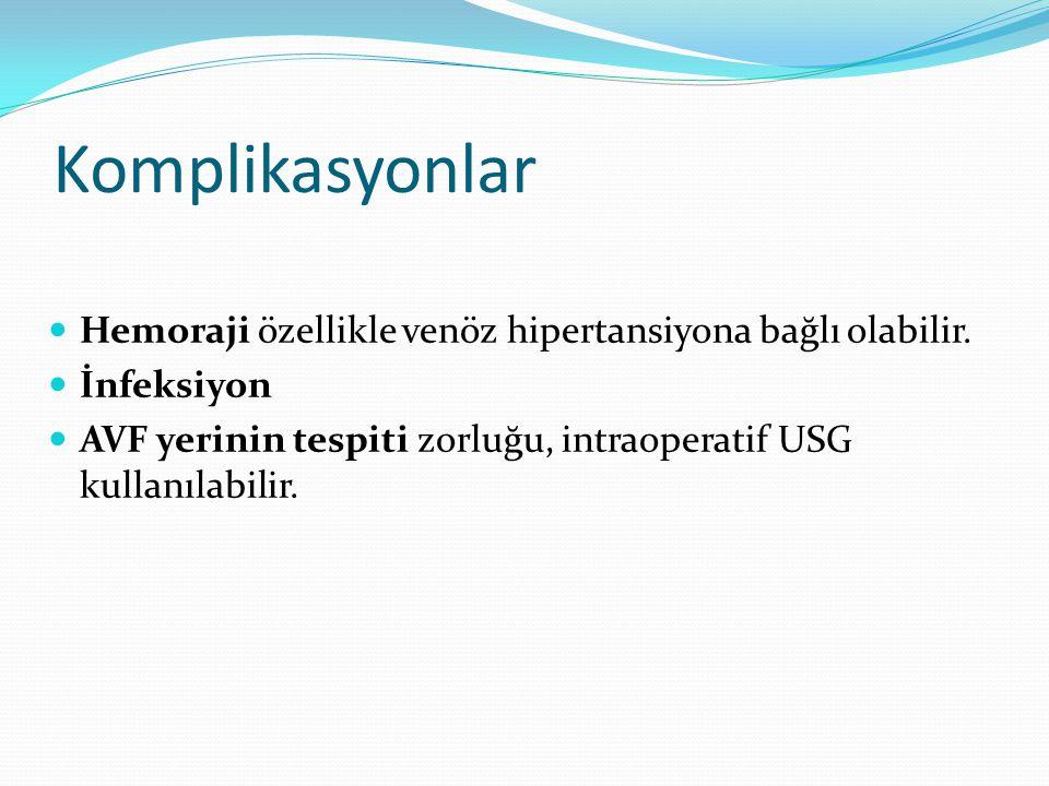 Komplikasyonlar Hemoraji özellikle venöz hipertansiyona bağlı olabilir. İnfeksiyon AVF yerinin tespiti zorluğu, intraoperatif USG kullanılabilir.