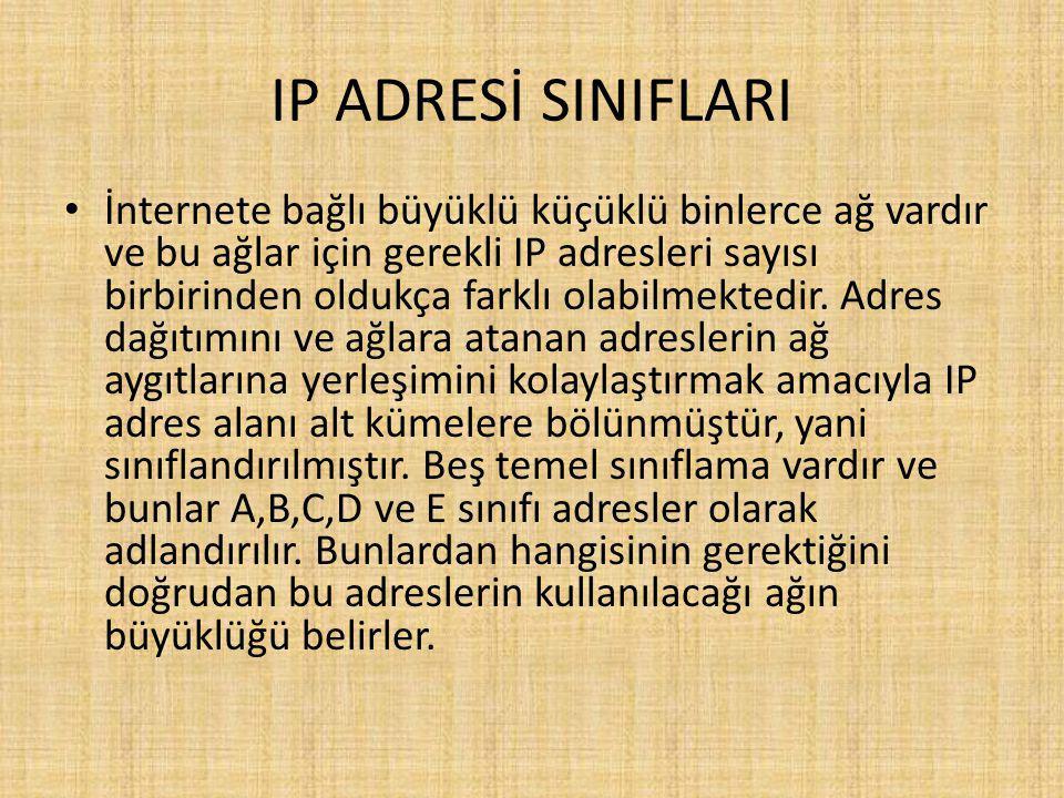IP ADRESİ SINIFLARI İnternete bağlı büyüklü küçüklü binlerce ağ vardır ve bu ağlar için gerekli IP adresleri sayısı birbirinden oldukça farklı olabilmektedir.