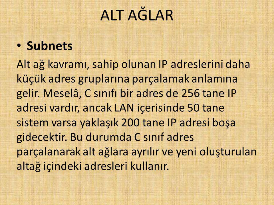 ALT AĞLAR Subnets Alt ağ kavramı, sahip olunan IP adreslerini daha küçük adres gruplarına parçalamak anlamına gelir.