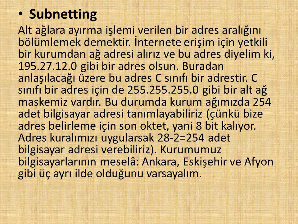 Subnetting Alt ağlara ayırma işlemi verilen bir adres aralığını bölümlemek demektir.