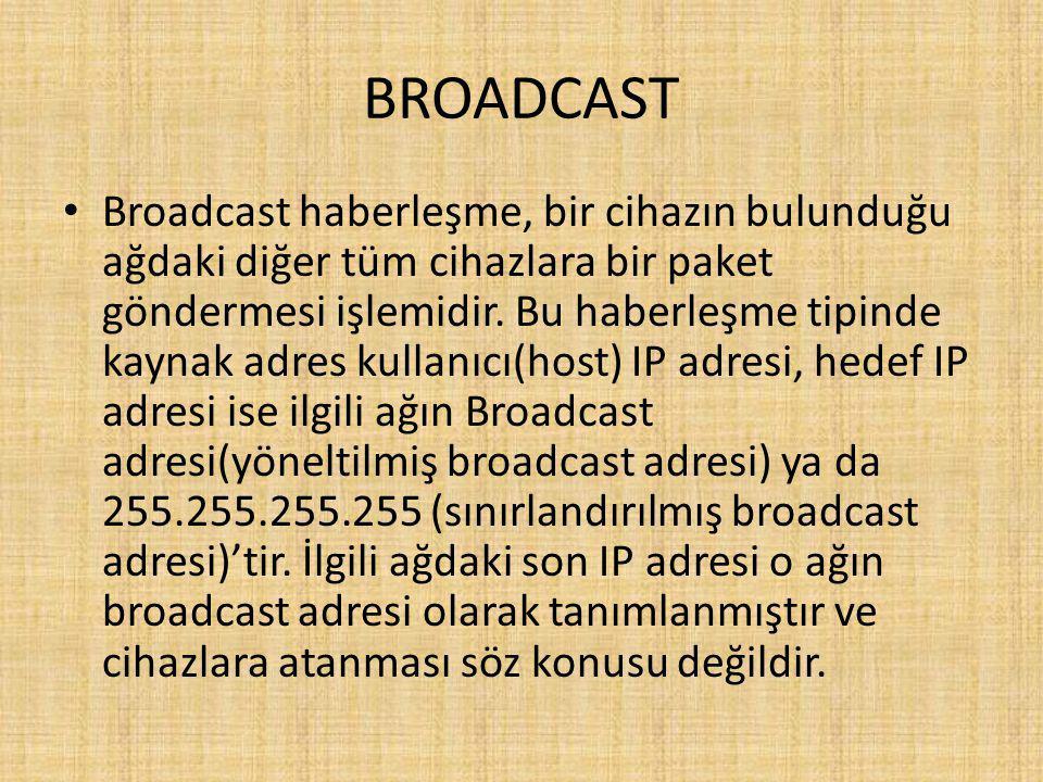 BROADCAST Broadcast haberleşme, bir cihazın bulunduğu ağdaki diğer tüm cihazlara bir paket göndermesi işlemidir.