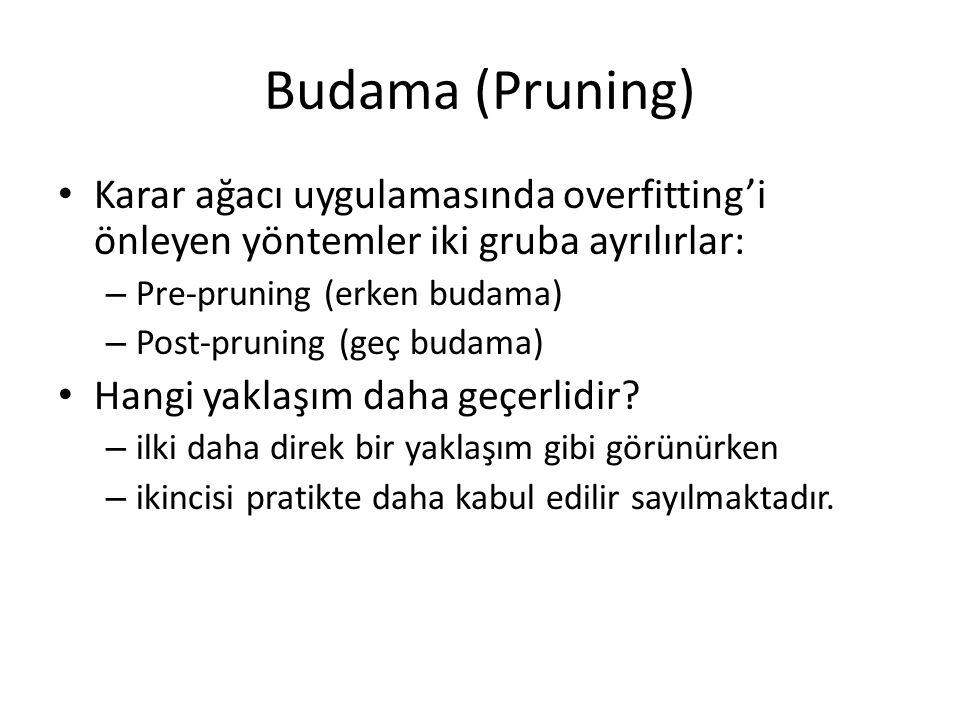 Budama (Pruning) Karar ağacı uygulamasında overfitting'i önleyen yöntemler iki gruba ayrılırlar: – Pre-pruning (erken budama) – Post-pruning (geç budama) Hangi yaklaşım daha geçerlidir.