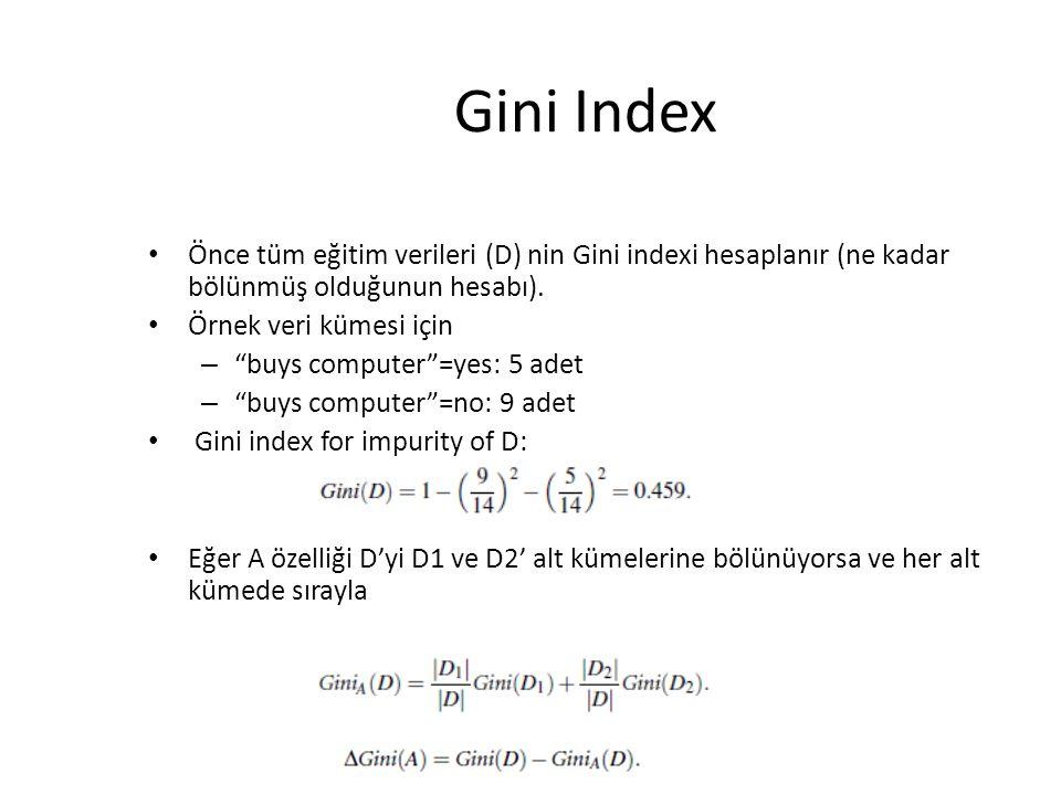 """Gini Index Önce tüm eğitim verileri (D) nin Gini indexi hesaplanır (ne kadar bölünmüş olduğunun hesabı). Örnek veri kümesi için – """"buys computer""""=yes:"""
