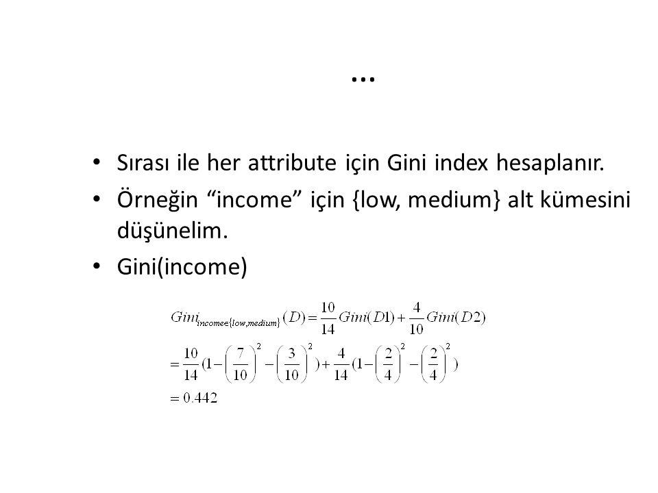 """… Sırası ile her attribute için Gini index hesaplanır. Örneğin """"income"""" için {low, medium} alt kümesini düşünelim. Gini(income)"""
