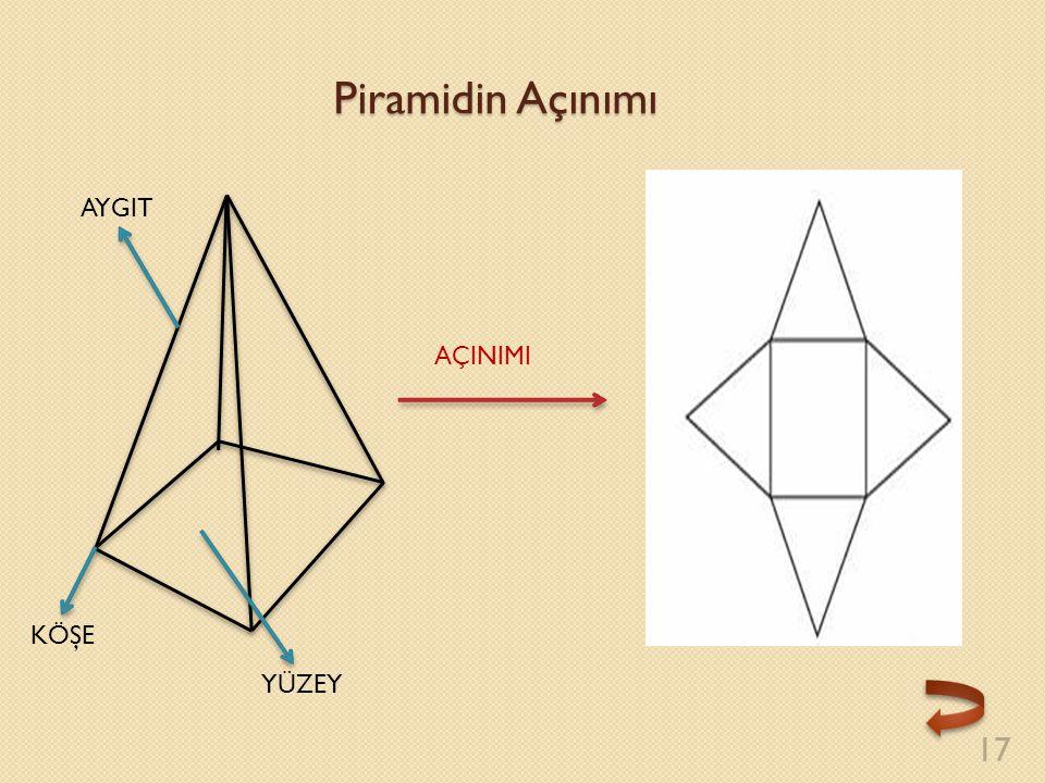 Piramidin Açınımı 17 AÇINIMI KÖŞE YÜZEY AYGIT