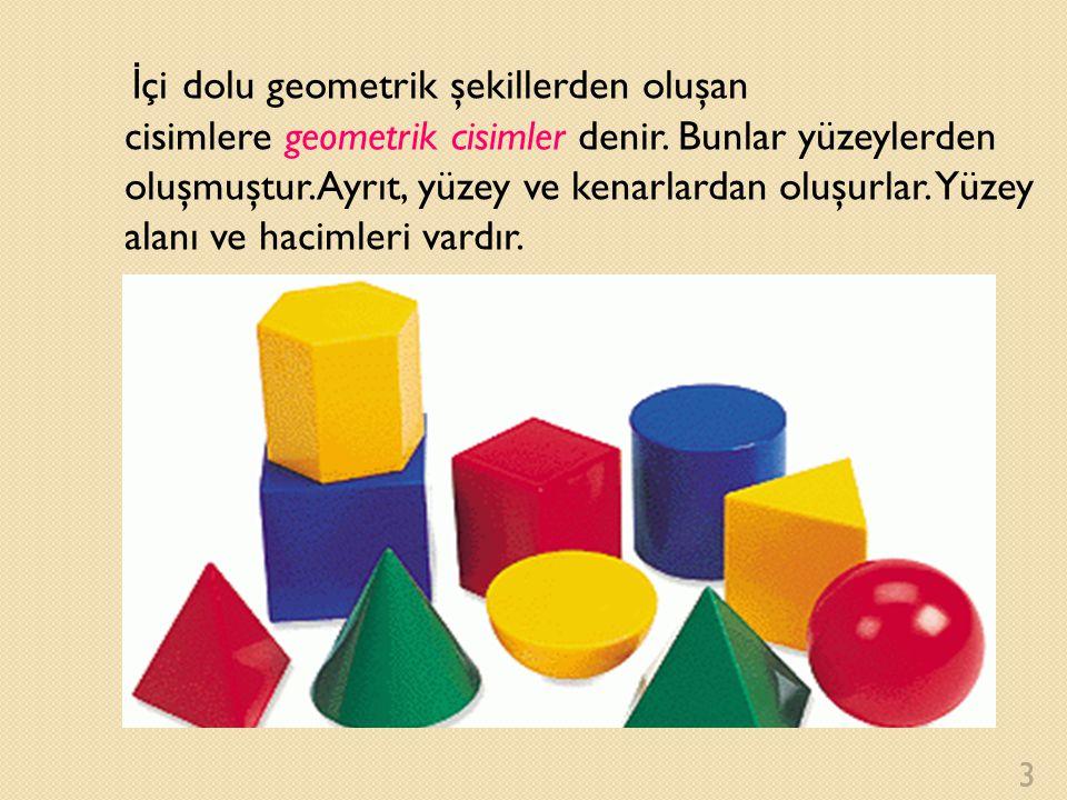 İ çi dolu geometrik şekillerden oluşan cisimlere geometrik cisimler denir. Bunlar yüzeylerden oluşmuştur.Ayrıt, yüzey ve kenarlardan oluşurlar. Yüzey