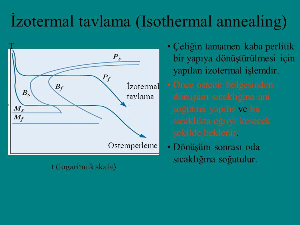 İzotermal tavlama (Isothermal annealing) t (logaritmik skala) Ostemperleme İzotermal tavlama T Çeliğin tamamen kaba perlitik bir yapıya dönüştürülmesi