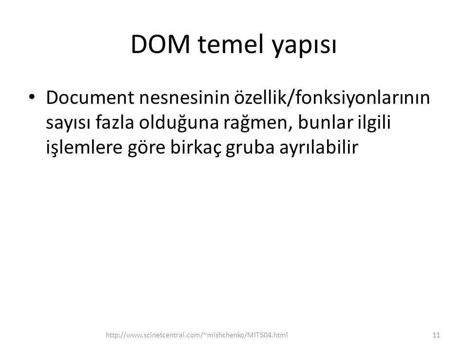 DOM temel yapısı Document nesnesinin özellik/fonksiyonlarının sayısı fazla olduğuna rağmen, bunlar ilgili işlemlere göre birkaç gruba ayrılabilir 11ht