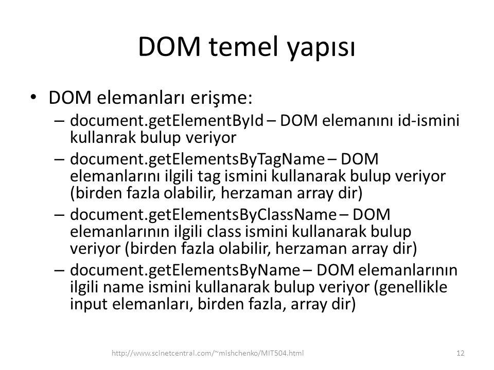 DOM temel yapısı DOM elemanları erişme: – document.getElementById – DOM elemanını id-ismini kullanrak bulup veriyor – document.getElementsByTagName –