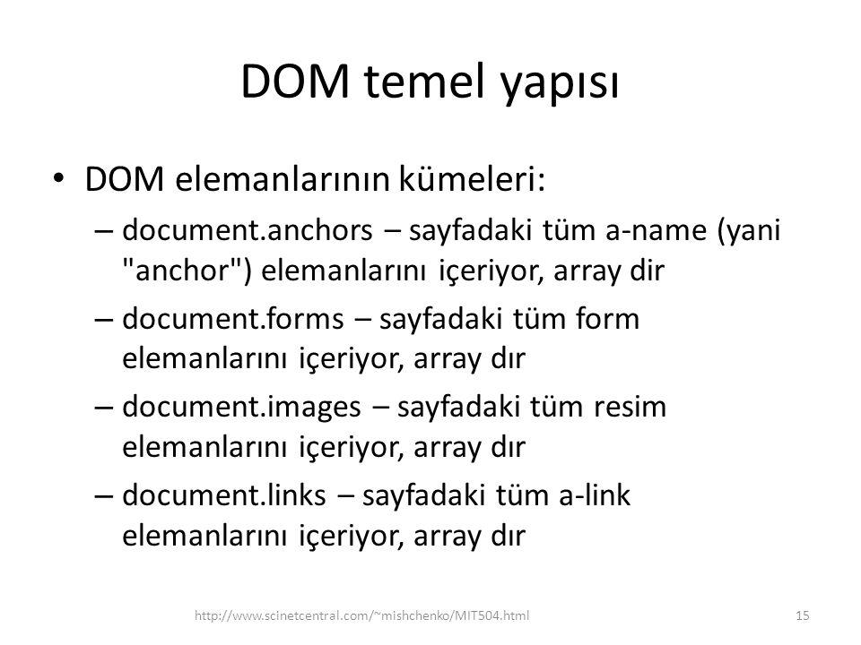 DOM temel yapısı DOM elemanlarının kümeleri: – document.anchors – sayfadaki tüm a-name (yani