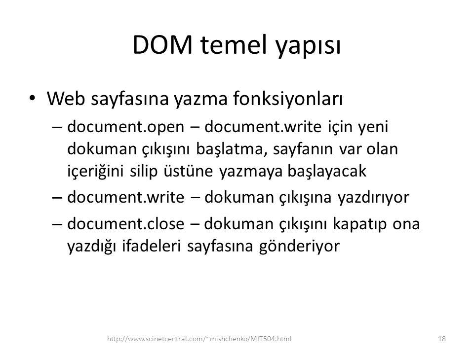 DOM temel yapısı Web sayfasına yazma fonksiyonları – document.open – document.write için yeni dokuman çıkışını başlatma, sayfanın var olan içeriğini s