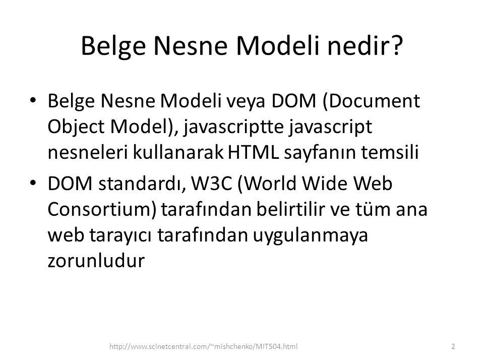 Belge Nesne Modeli nedir? Belge Nesne Modeli veya DOM (Document Object Model), javascriptte javascript nesneleri kullanarak HTML sayfanın temsili DOM