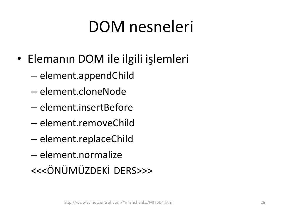 DOM nesneleri Elemanın DOM ile ilgili işlemleri – element.appendChild – element.cloneNode – element.insertBefore – element.removeChild – element.repla