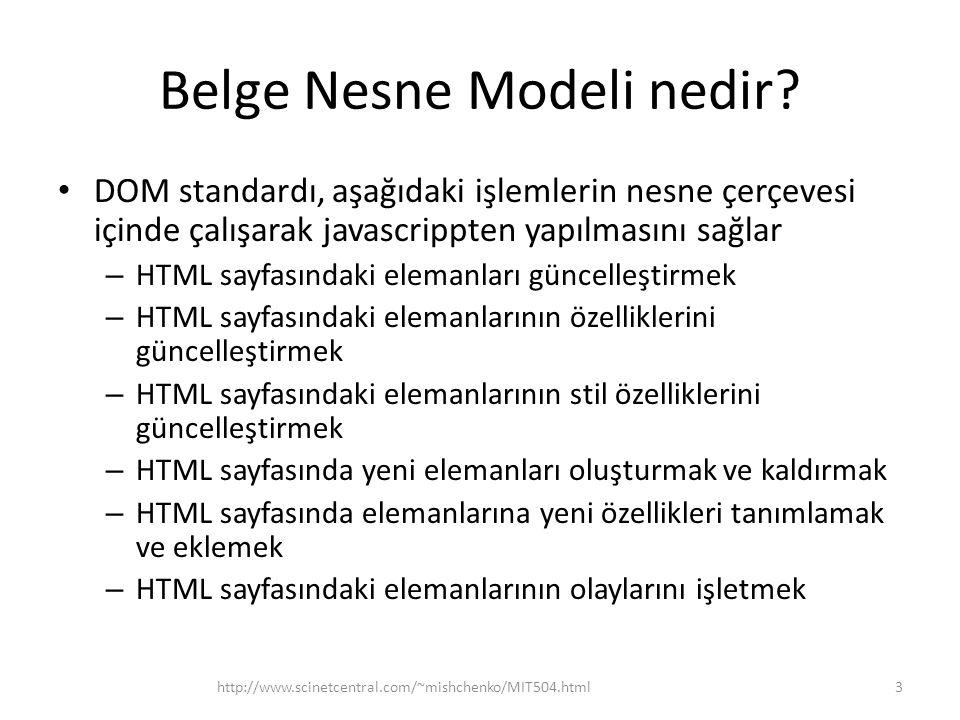 Belge Nesne Modeli nedir? DOM standardı, aşağıdaki işlemlerin nesne çerçevesi içinde çalışarak javascrippten yapılmasını sağlar – HTML sayfasındaki el