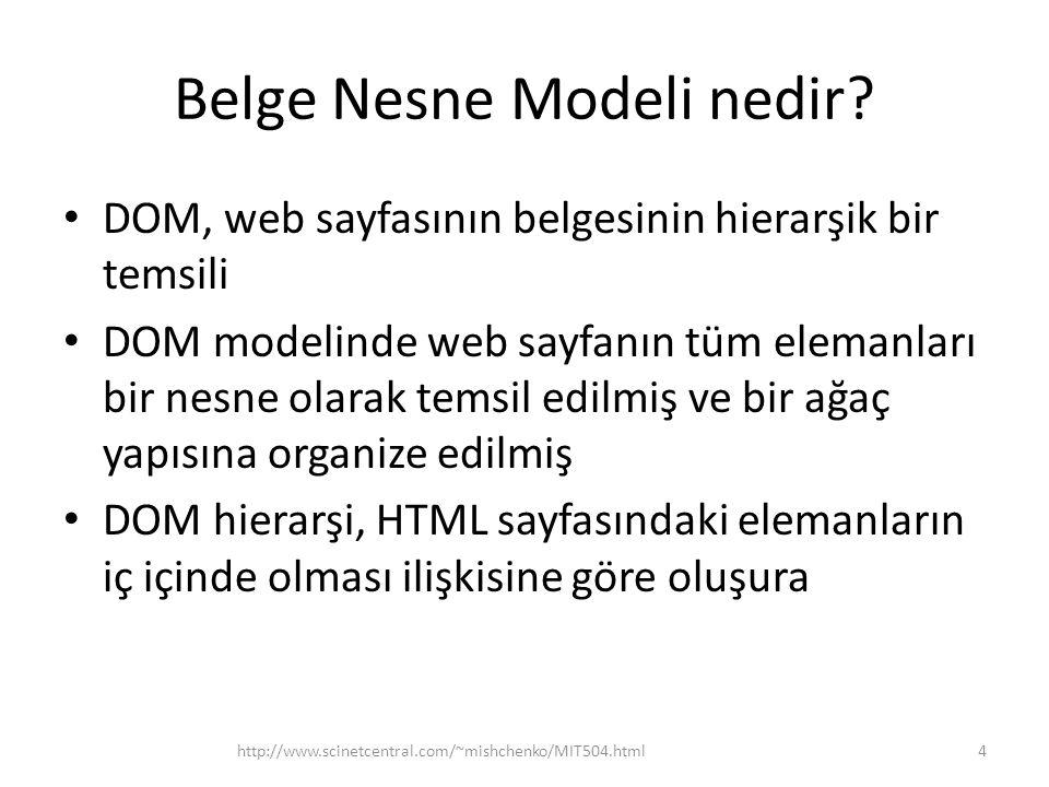 Belge Nesne Modeli nedir? DOM, web sayfasının belgesinin hierarşik bir temsili DOM modelinde web sayfanın tüm elemanları bir nesne olarak temsil edilm
