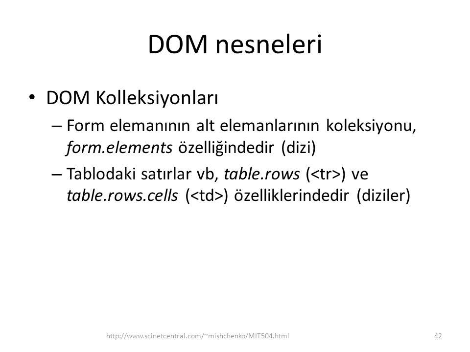DOM nesneleri DOM Kolleksiyonları – Form elemanının alt elemanlarının koleksiyonu, form.elements özelliğindedir (dizi) – Tablodaki satırlar vb, table.